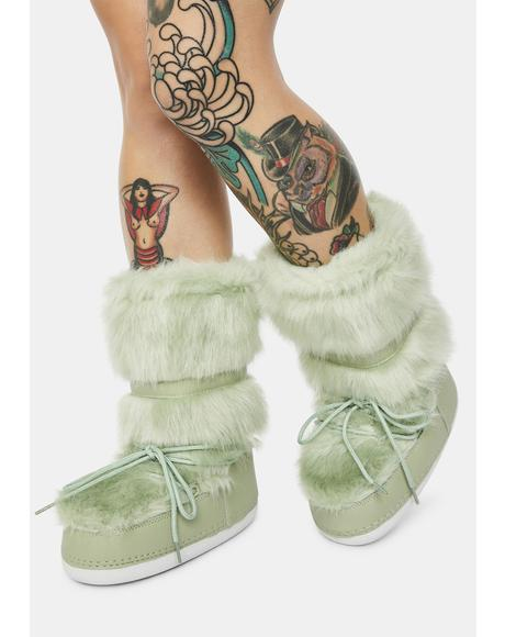Sage Baddie Burr Fuzzy Boots