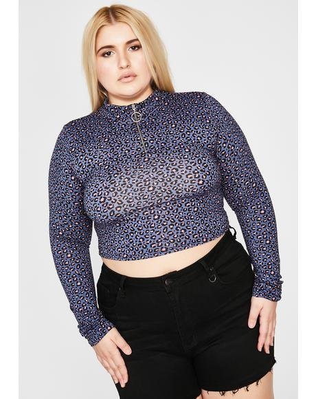 Wavy True Max Catty Leopard Crop Top