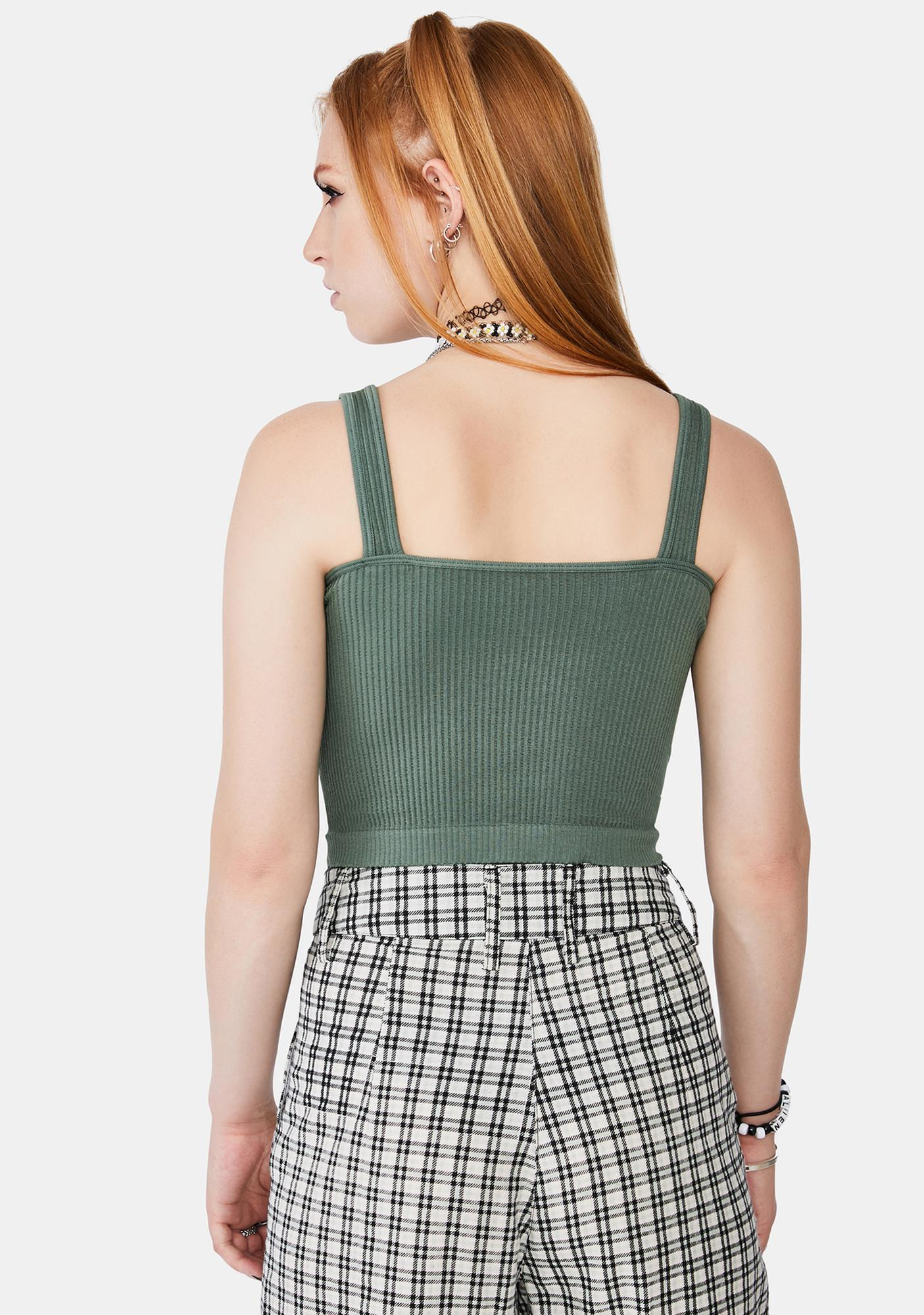 Free People Moss Green Ribbed Brami Tank Top