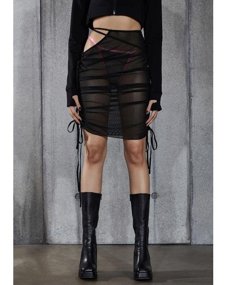 Snare Ruched Mesh Cut-Out Midi Skirt