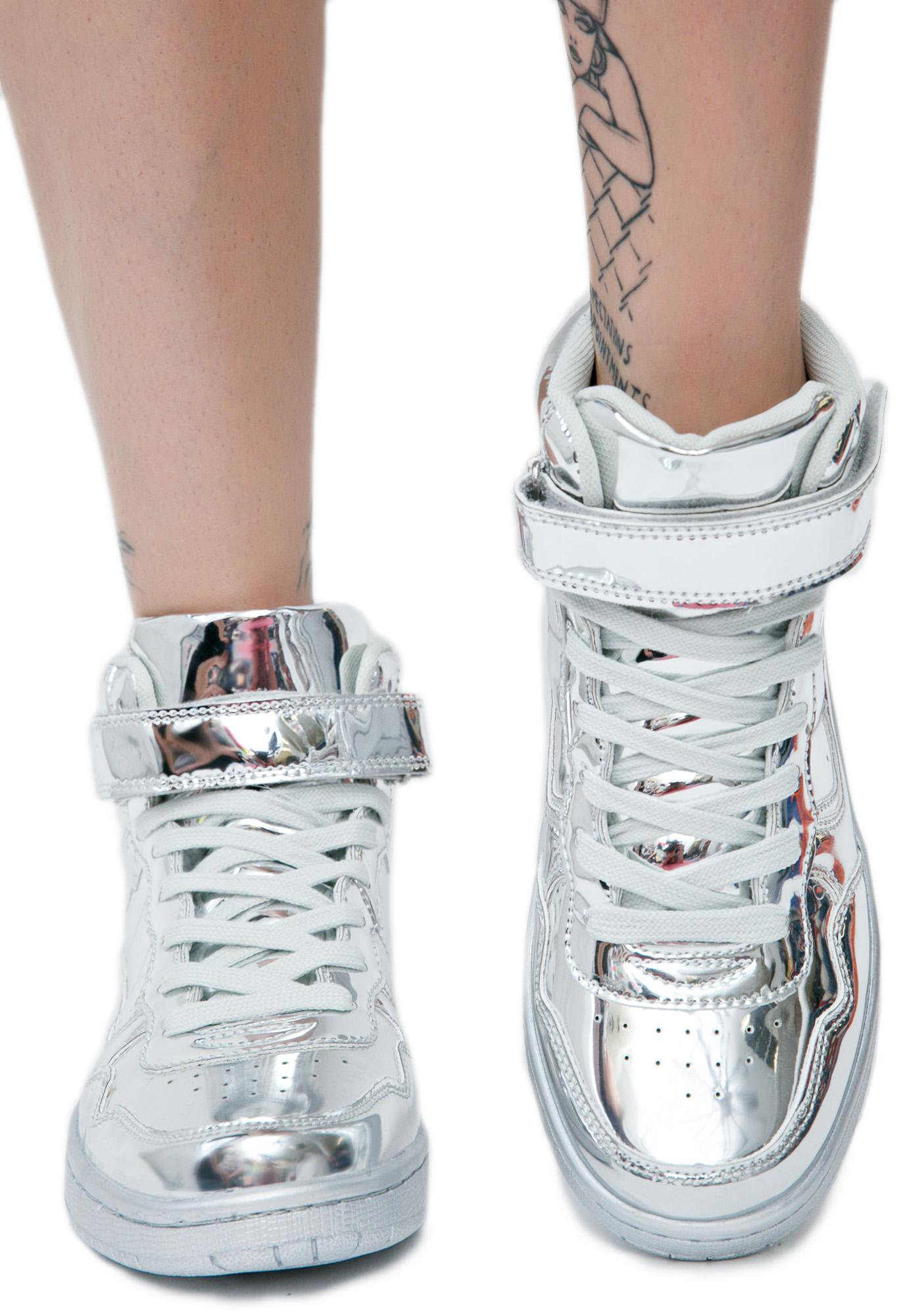 Silver Lining Metallic High Top Sneakers