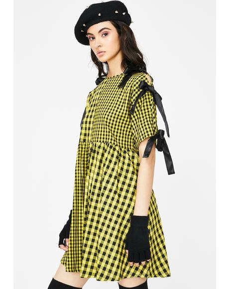 Yellow Tie Sleeve Smock Dress