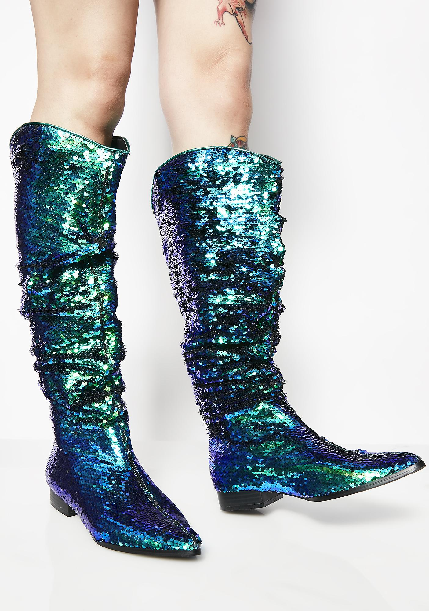 Mermaid Flash Of Light Slouch Boots