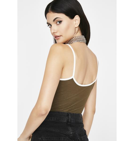 Olive Straight Up Ribbed Tank Top