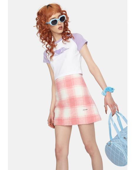 Twiggy Coral Plaid Mini Skirt