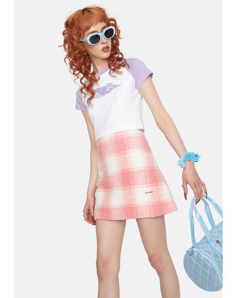 Twiggy Coral Plaid Mini Skirt