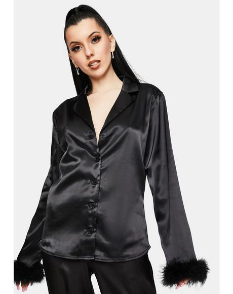 Black Sky Feather Pajamas Shirt