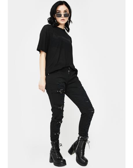 Distressed Buckle Skinny Jeans