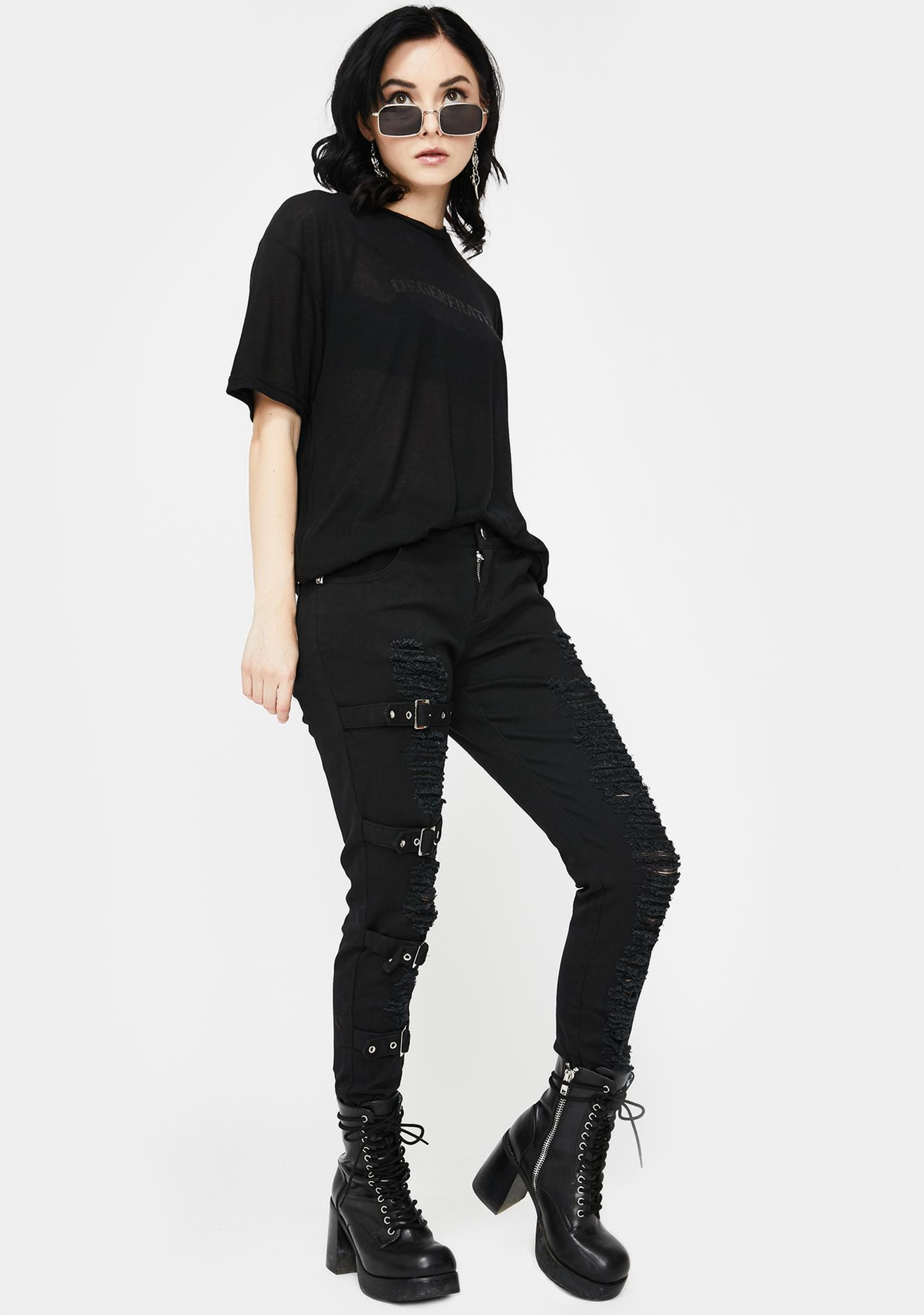 Devil Fashion Distressed Buckle Skinny Jeans