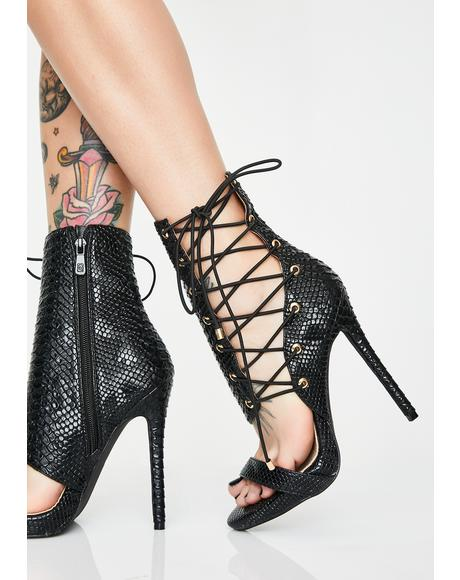 Dark Love Me Love Me Not Stiletto Heels