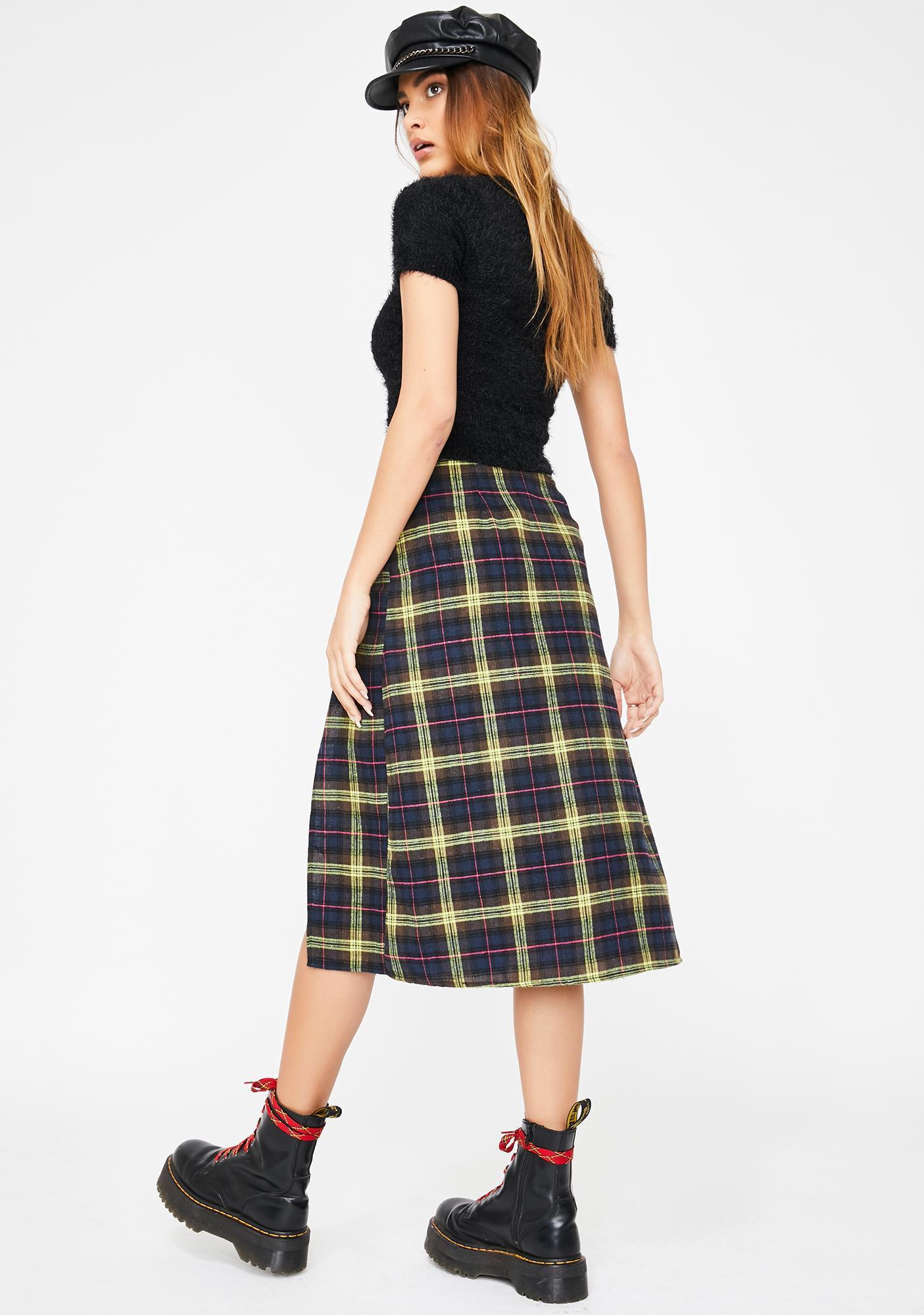 Motel Yellow Check Saika Skirt