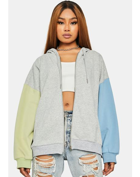 Pop Off Colorblock Zip Up Hoodie