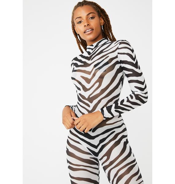 Dolls Kill Itty Bitty Pretty Zebra Catsuit