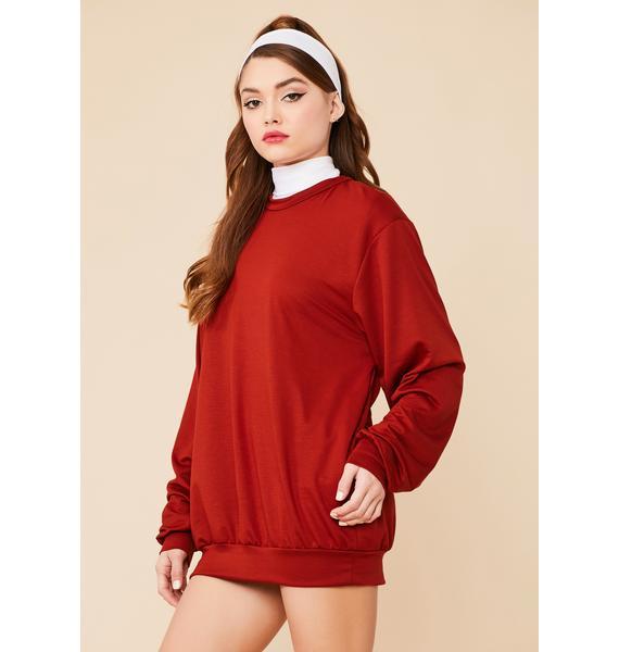 Rust Easy Going Mini Sweatshirt Dress