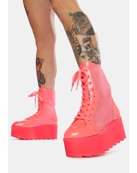 Hot Pink Bloq Mesh Platform Boots