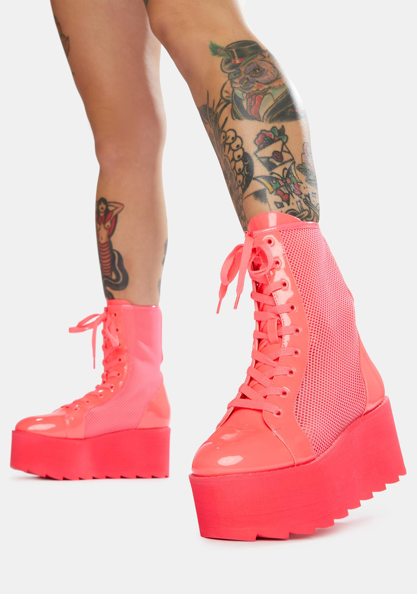 Y.R.U. Hot Pink Bloq Mesh Platform Boots