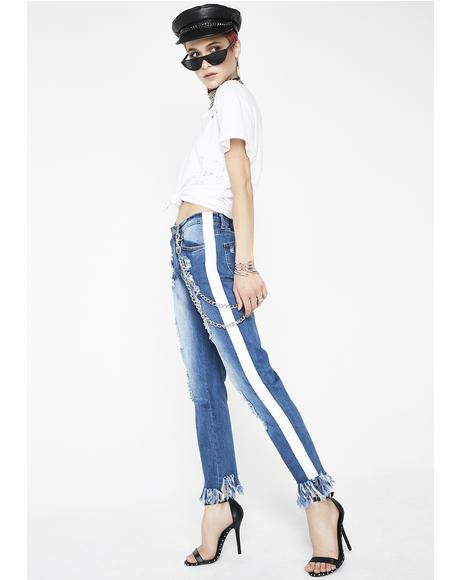 Baddie Zone Distressed Jeans