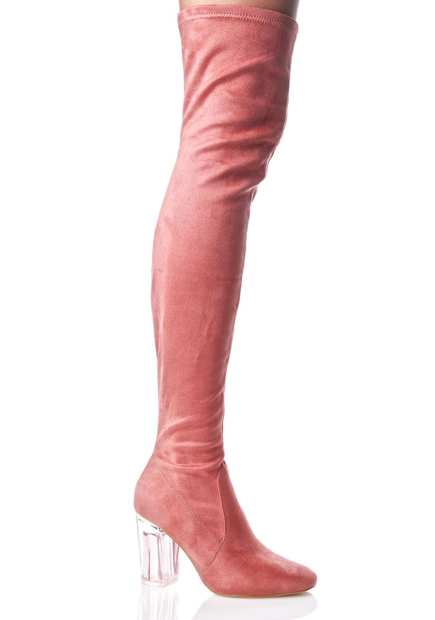 Pink Thigh High Clear Heel Boot | Dolls Kill