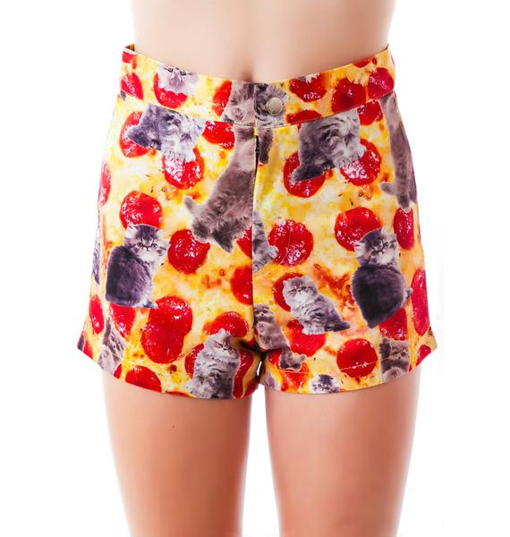 O Mighty Kitty Pizza Booty Shorts