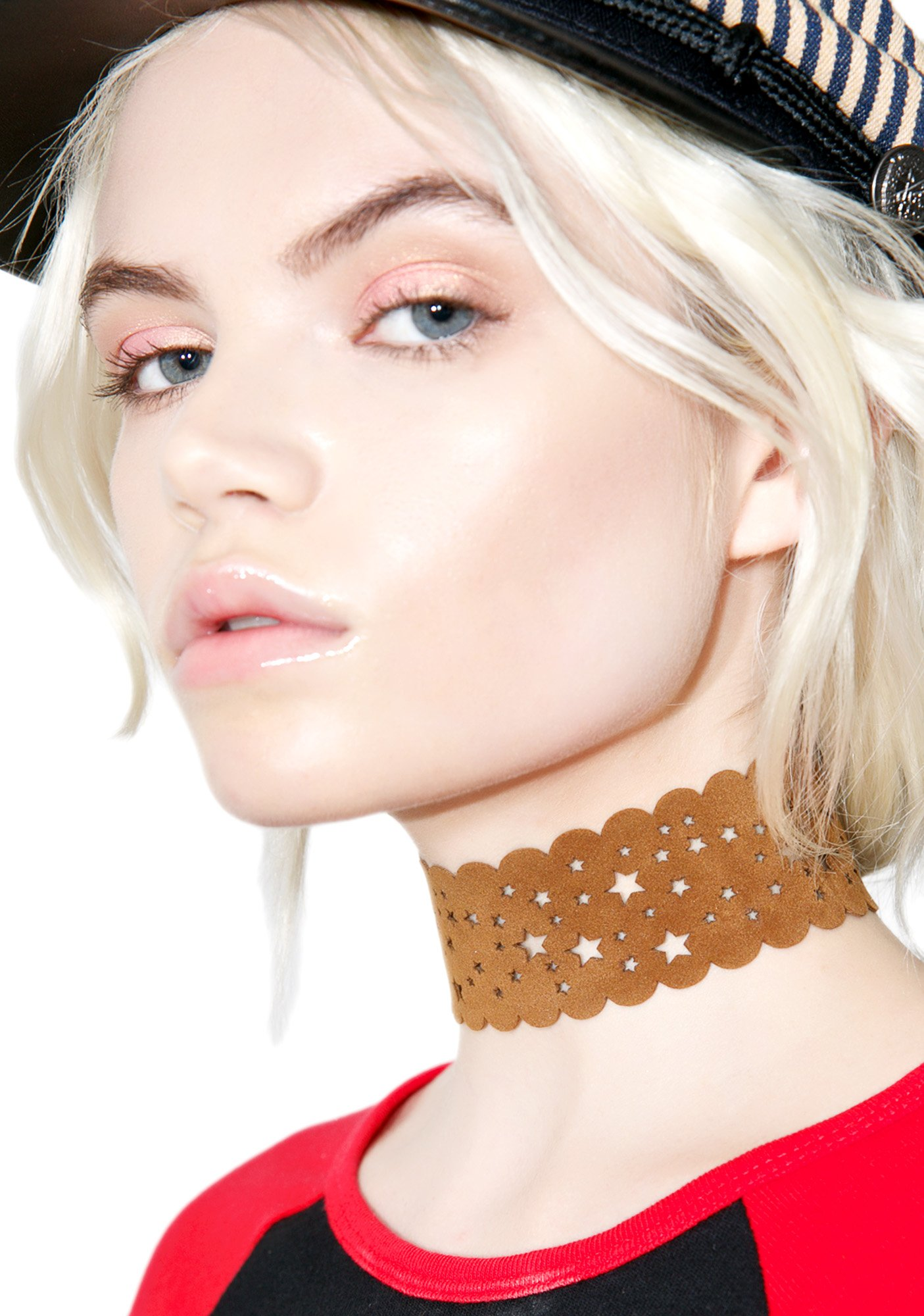 Star Cut Out Vegan Leather Choker