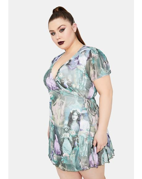 Divine Ink And Feather Portrait Print Wrap Dress