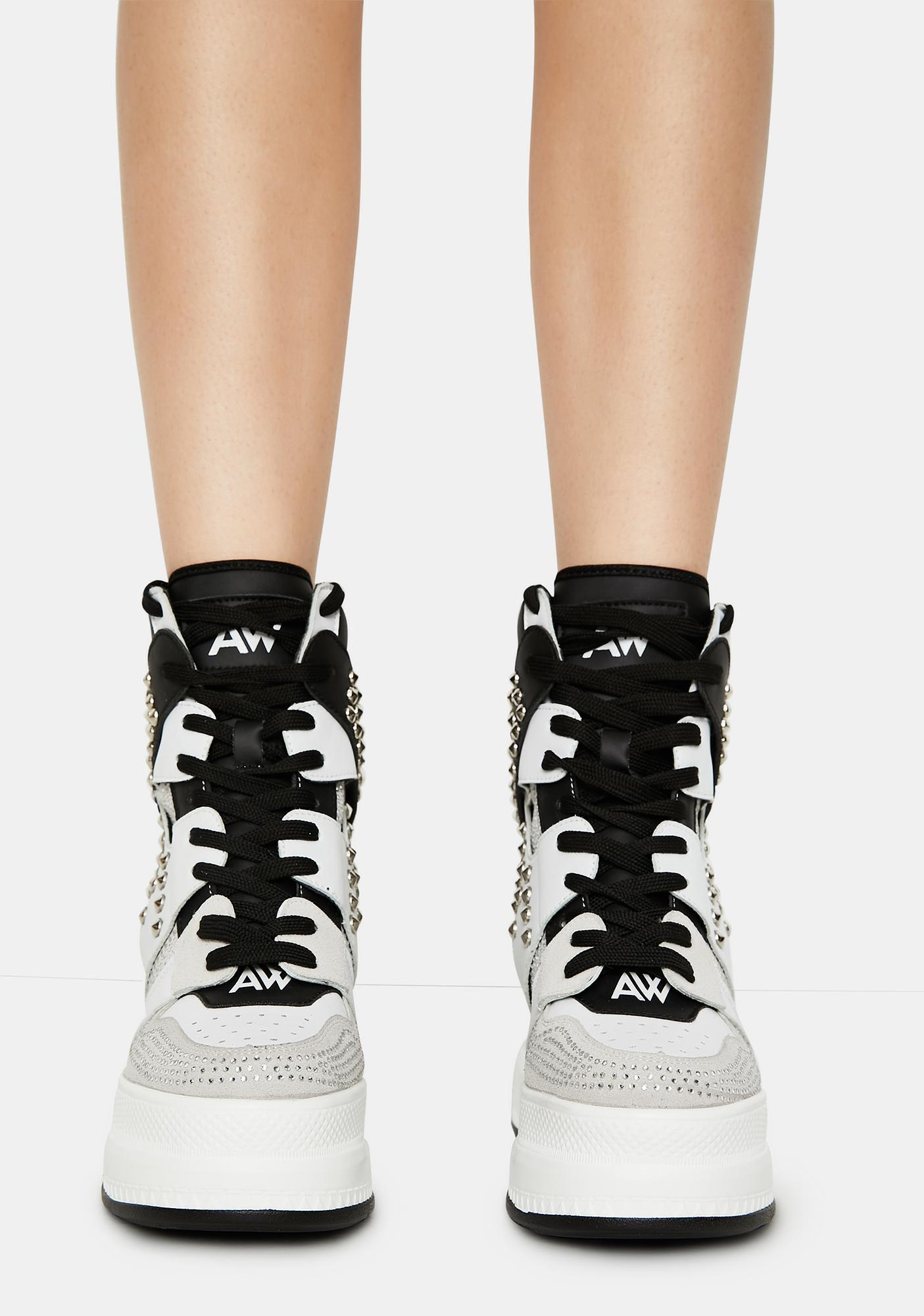 Anthony Wang White Quince Studded Wedge Sneakers