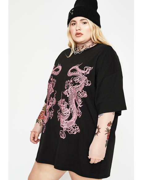 Dragon Print T-Shirt Dress