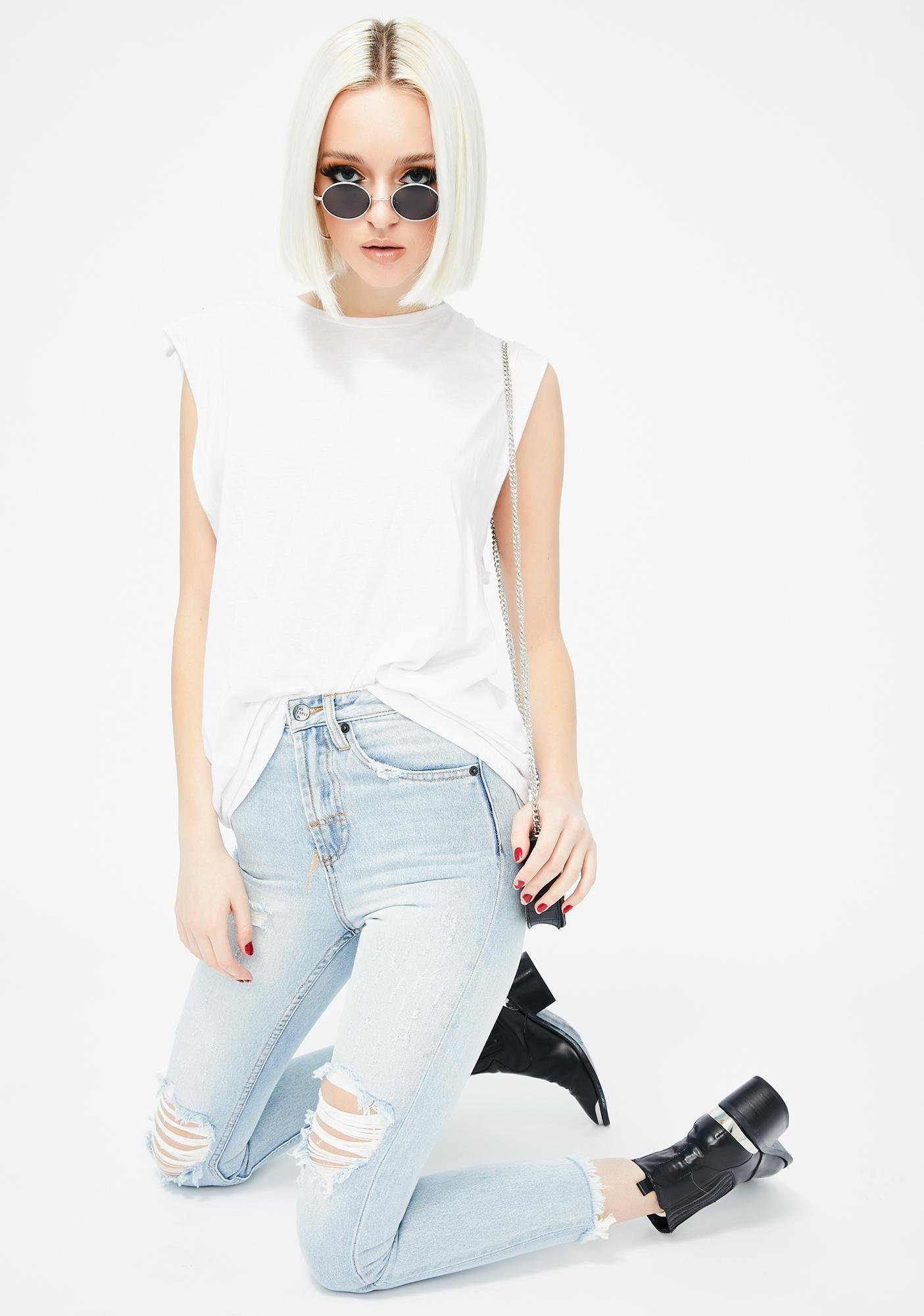 The People VS Distressed High Waisted Mum Jeans