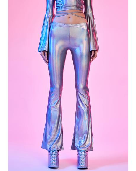 Disco Dreams Holographic Flare Pants