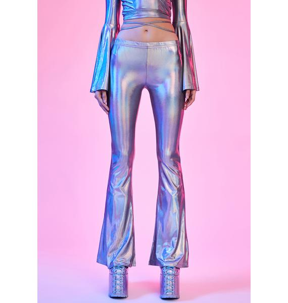 Current Mood Disco Dreams Holographic Flare Pants