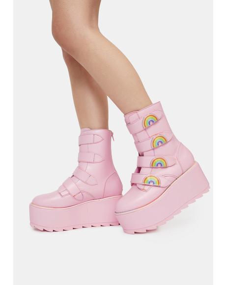 Pink Karma Rainbow Platform Boots
