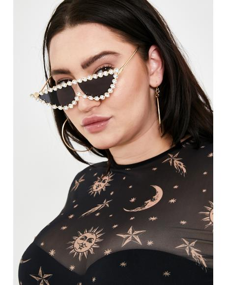 Dark Glam Kitty Jeweled Sunglasses
