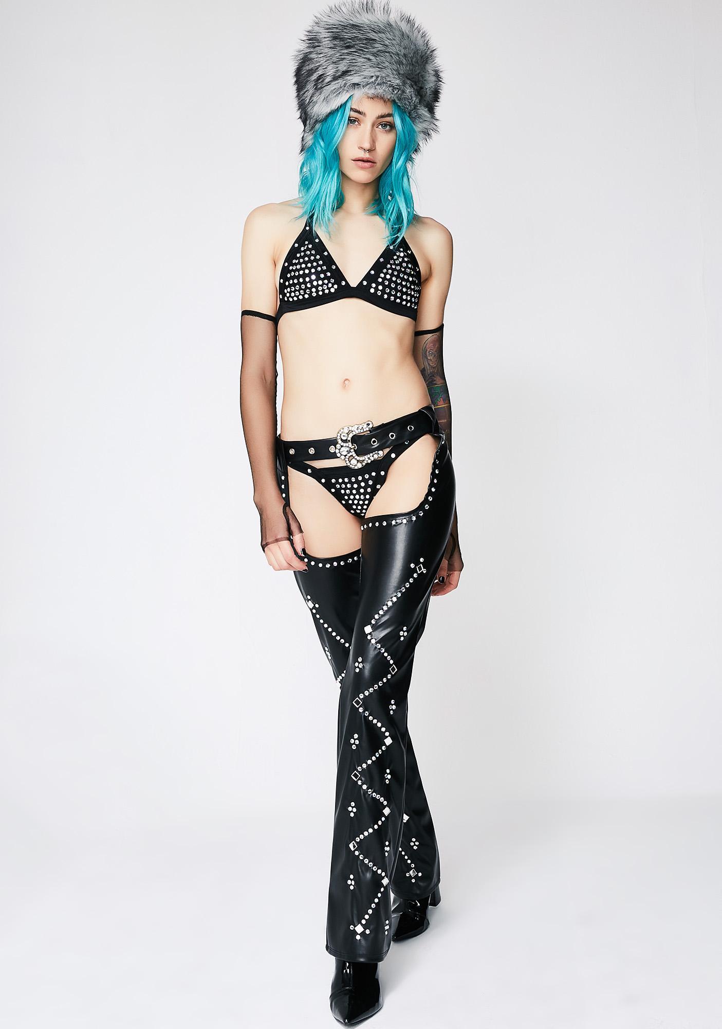 Midnight Dare To Bare Rhinestone Bikini Set