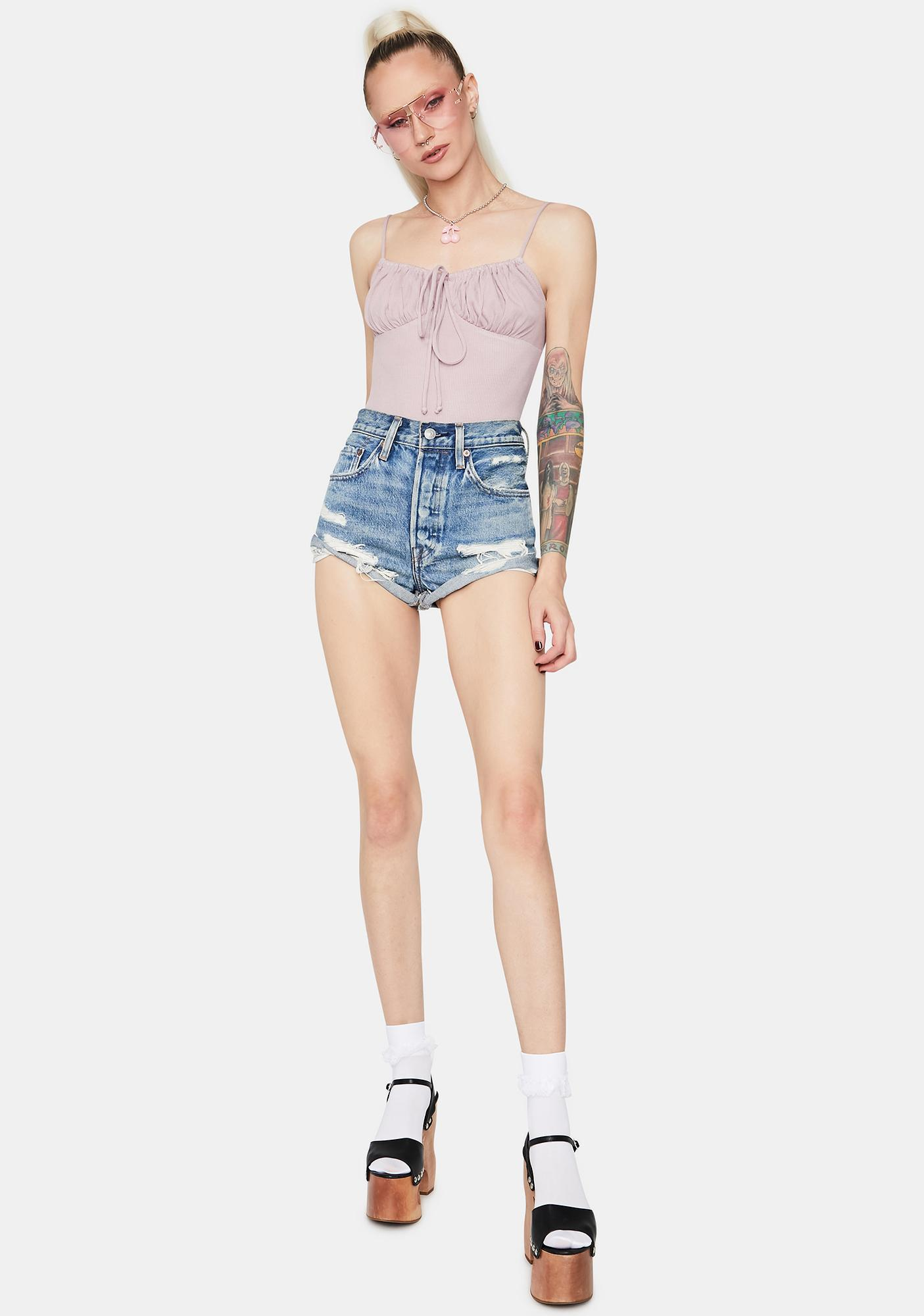 Lavender Ring The Bell Ruched Cami Bodysuit