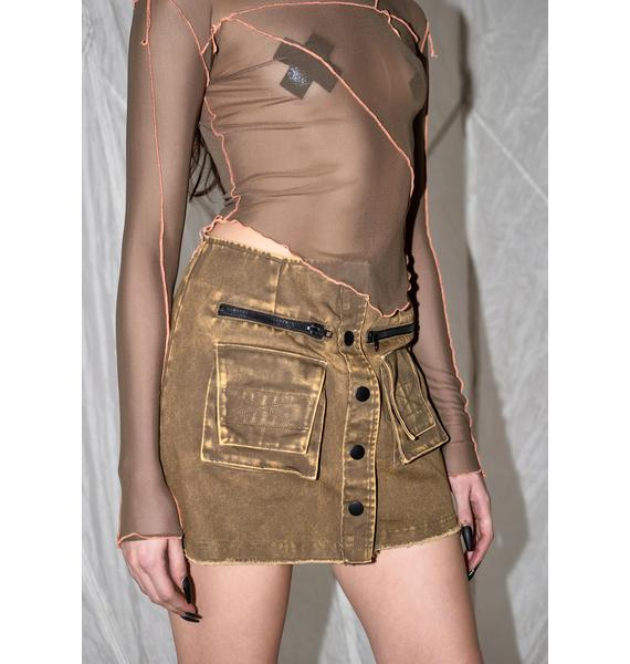 DARKER WAVS Synth Washed Button Up Cargo Skirt