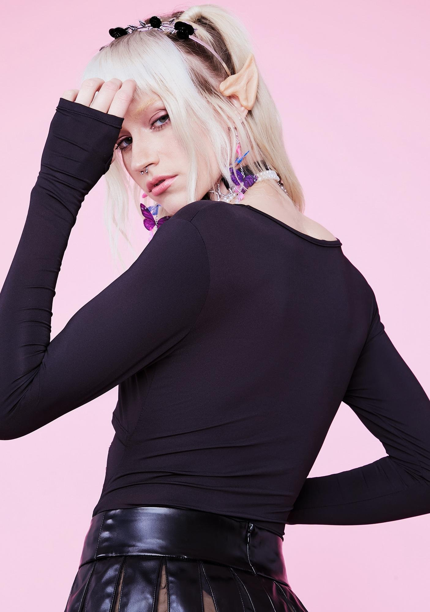 Sugar Thrillz Luna On The Horizon Long Sleeve Lace Up Bodysuit