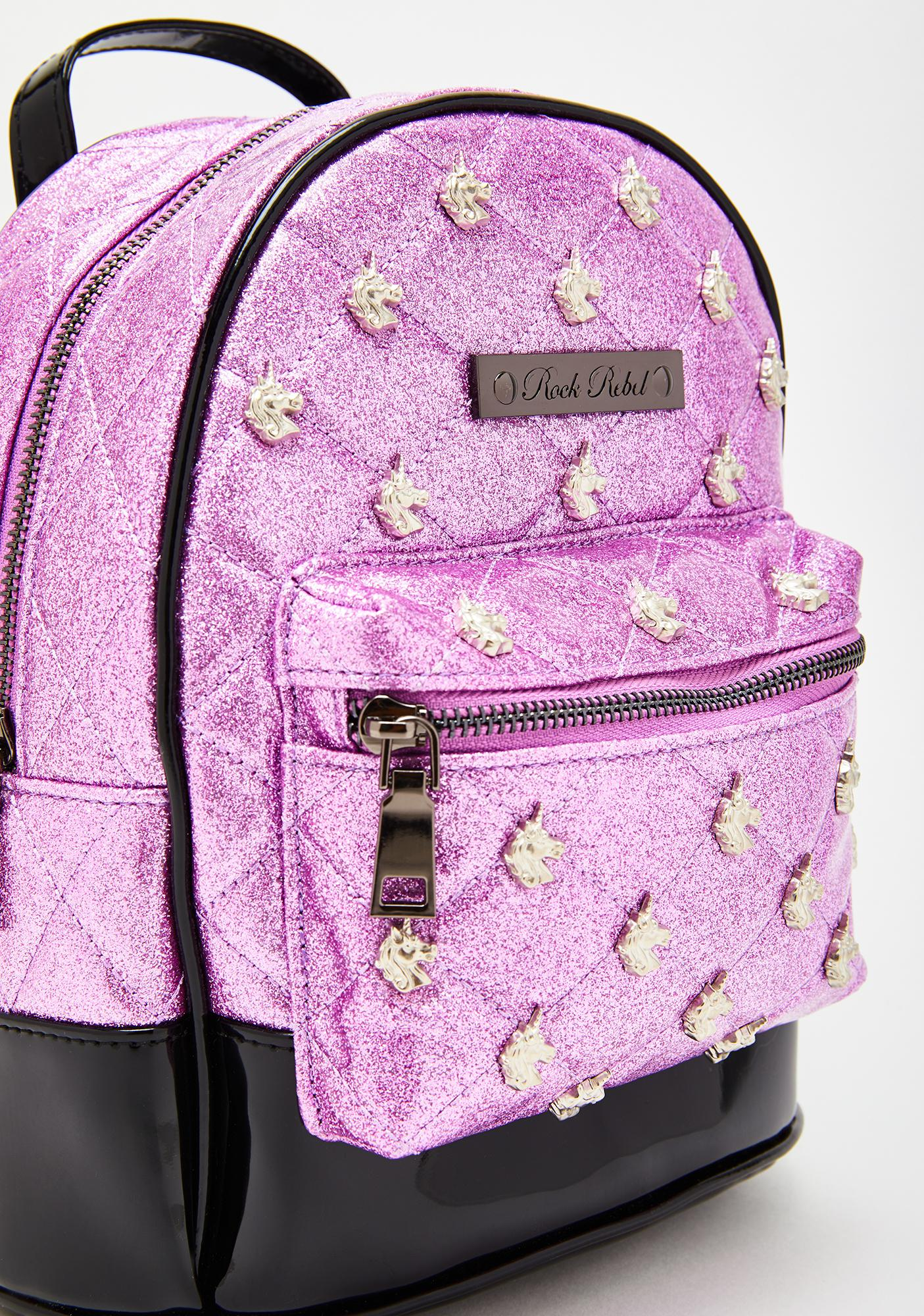 Rock Rebel Pink Glitter Unicorn Quilted & Studded Mini Backpack