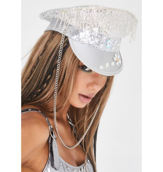 Glamour Fix Rhinestone Captain Hat