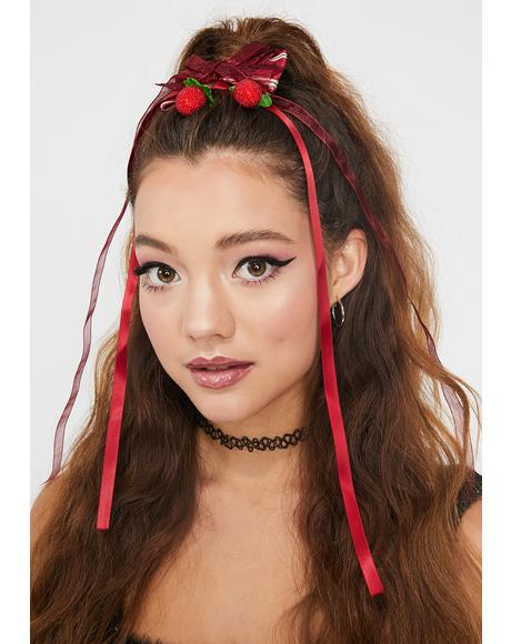 Strawberry Fling Pendant Long Hair Bow