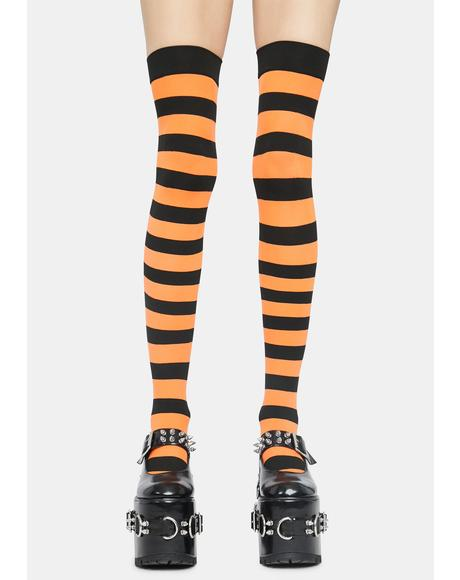 Citrus Make U Pay Striped Thigh Highs