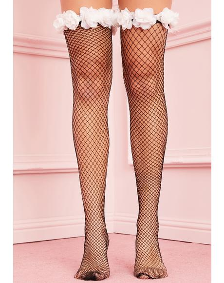 Daisies At Dusk Fishnet Stockings
