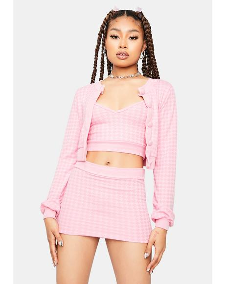 Blush Clueless Thoughts Cardigan Skirt Set