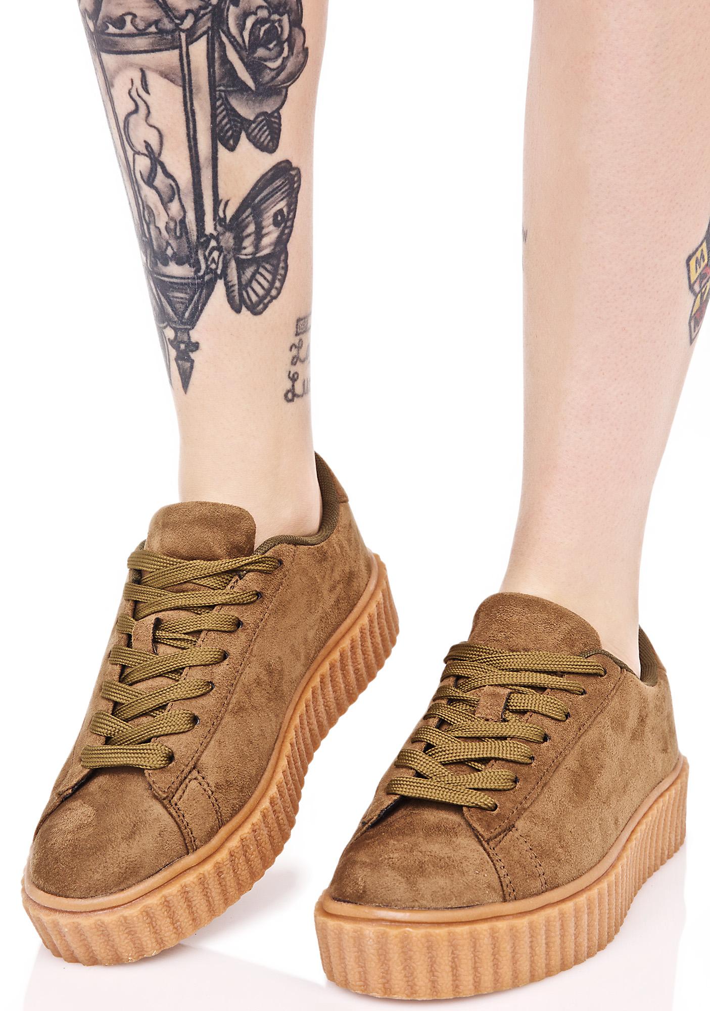 Olive Vegan Creeper Sneaker