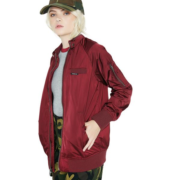 Members Only Satin Boyfriend Bomber Jacket