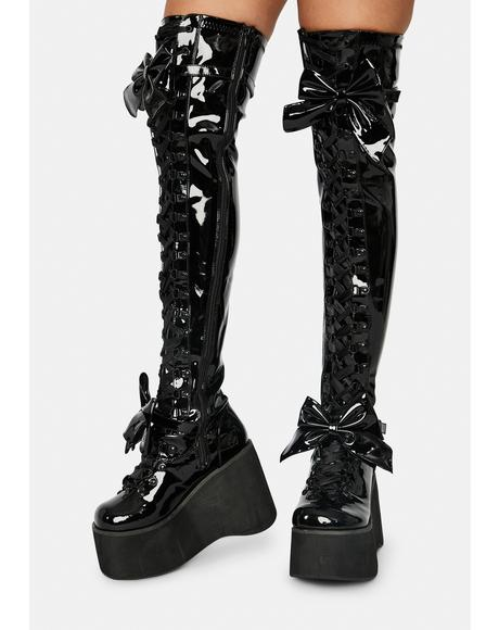 Patent Gothic Princess Thigh High Boots