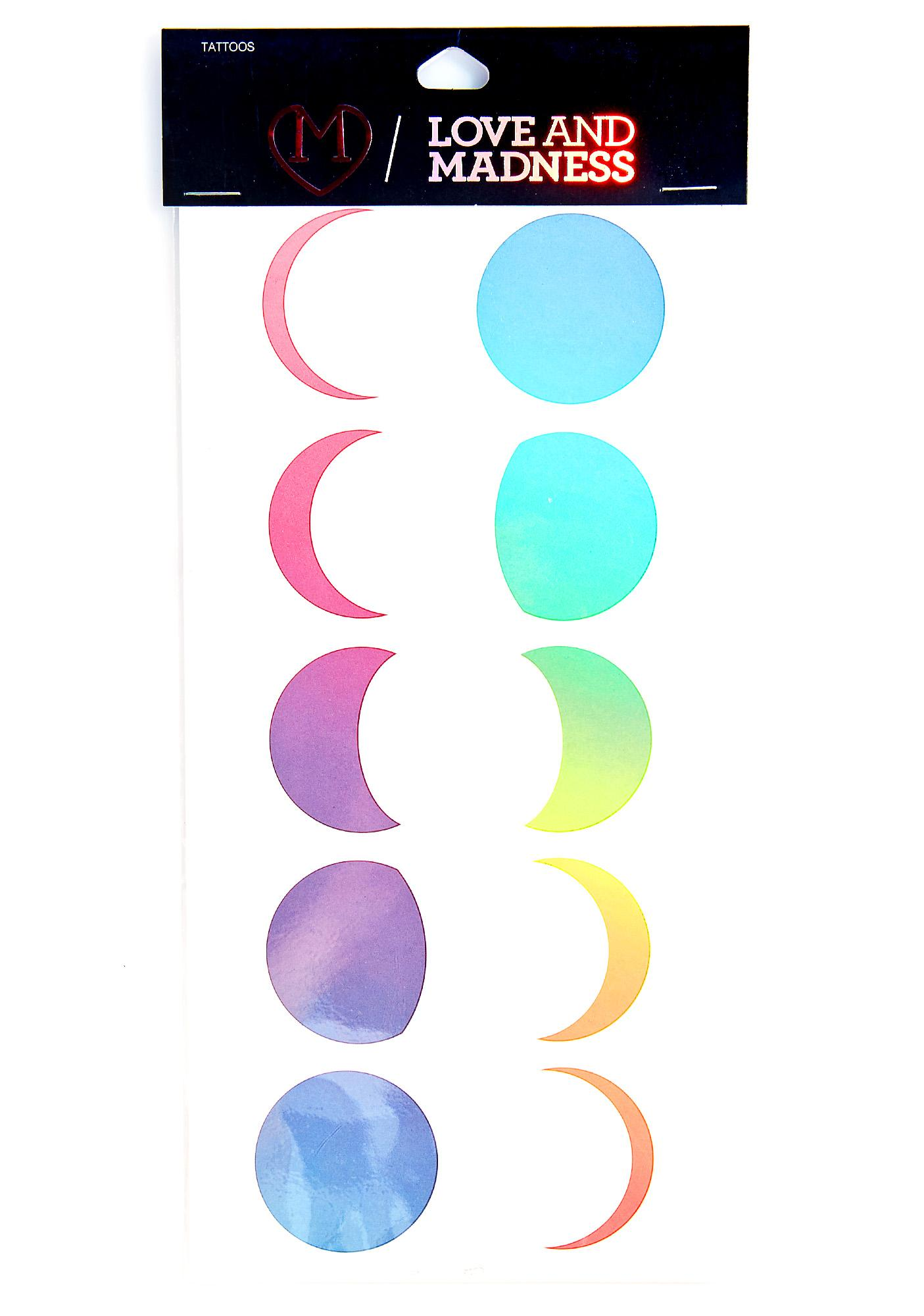 Love And Madness Moon Phases Temporary Tattoo Set