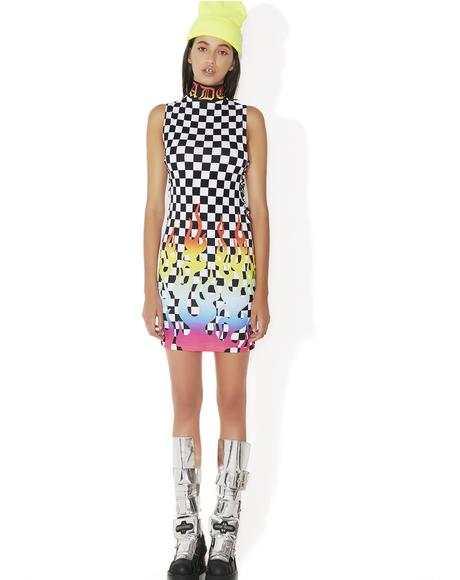 Rainbow Flame Lace-Up Mini Dress