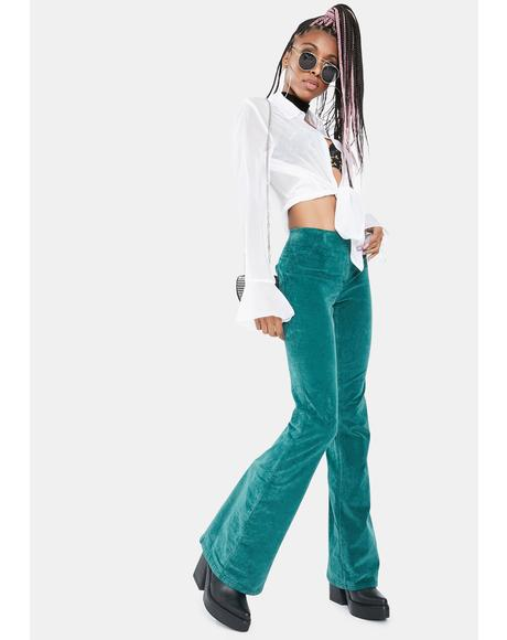 Pine Needle Pull On Cord Flare Pants