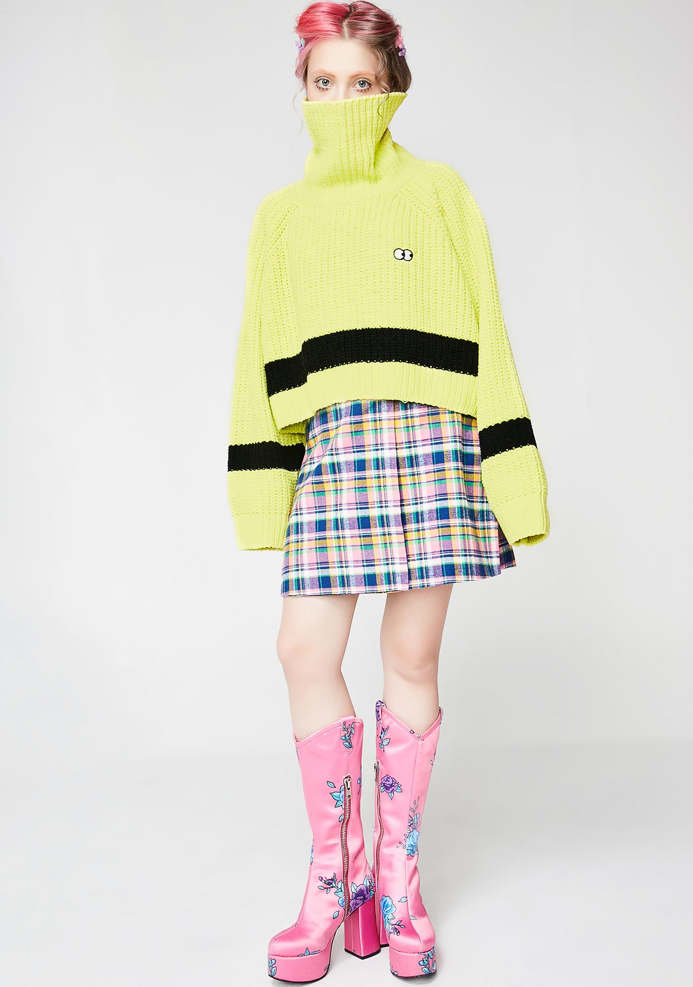 Lazy Oaf Lime Chenille Knit Jumper