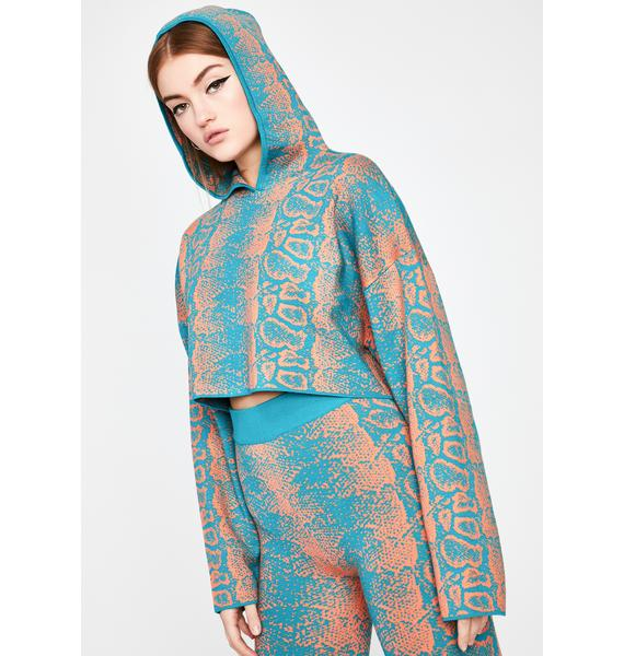 Turquoise Rattle Me Cropped Hoodie